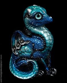 Baby Dragon - Blue Morpho - airbrushed, hand-painted, Fantasy Figurine, statue. $78.00 #dragon #fantasy #art