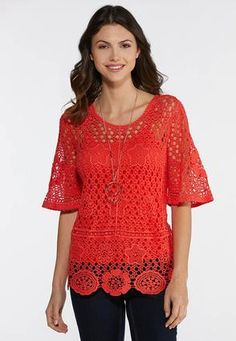 7245024d36814 Coral Crochet Top Shirts   Blouses Cato Fashions Scalloped Hem