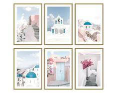 Greece Pastel Set of 6 Prints // Travel Wall Art Decor // Blush Gallery Wall Set // Santorini Wall Prints // Pink Wall Art Contemporary Wall Art, Modern Art Prints, Wall Art Prints, Teen Bedroom Designs, Girls Bedroom, Bedroom Decor, 1920s Bedroom, Wall Decor, Bedroom Wall