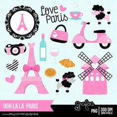 ooh la la PARIS Digital Clipart,  Paris Clipart,  Paris Girls Clipart, Eiffel Tower Clipart / Instant Download