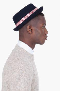 Rag & Bone Navy Wool Pork Pie Hat for men | SSENSE