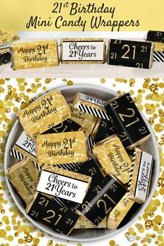 21st Birthday Party Stickers Are Made To Perfectly Wrap Around Hersheys Miniatures Bars