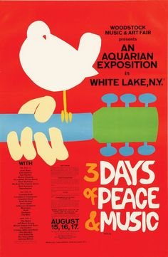 An advertisement poster of Woodstock 1969 Festival