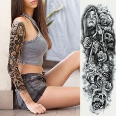 Waterproof Extra Large Temporary Tattoos for Women Men Adults Black Skull Rose Body Art Tattoo Sticker Fake Tattoo