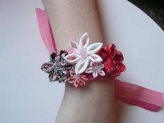 Floral handmade Kanzashi ribbon corsage by AFlowerforRose on Etsy, $12.95