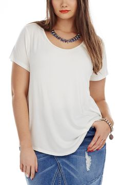 Back Pleat Top - off white - Style No: Viscose Elastane fabric Short Sleeve Top. This Top features a back yoke and a centre back Pleat on the Back. The Hemline of this Top is slightly scooped at the back. White Style, Plus Size Tops, Layering, Hemline, Off White, Centre, Diva, Essentials, V Neck