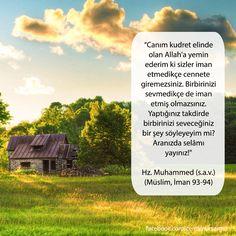 """""""Canım kudret elinde olan Allah'a yemin ederim ki sizler iman etmedikçe cennete giremezsiniz. Birbirinizi sevmedikçe de iman etmiş olmazsınız. Yaptığınız takdirde birbirinizi seveceğiniz bir şey söyleyeyim mi? Aranızda selâmı yayınız!"""" Hz. Muhammed (s.a.v.) (Müslim,İman 93-94)"""