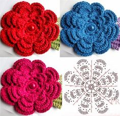 Crochet Beret - Step By Step (flower graphic) - Crochet FreeFlores a crochet.Home Decor Crochet Patterns Part 23 - Beautiful Crochet Patterns and Knitting PatternsAlcione Telles - Clube do CrocheIt is a website for handmade creations,with free patter Diy Crochet Flowers, Crochet Flower Tutorial, Crochet Flower Patterns, Love Crochet, Irish Crochet, Beautiful Crochet, Knitting Patterns, Knit Crochet, Crochet Ideas