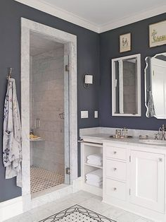 Image result for navy and carrara master bath