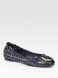 Tory Burch Serena Tweed and Leather Logo Ballet Flats