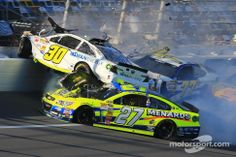 Huge wreck for Parker Kligerman, Dave Blaney and Paul  Menard, and its just Practice! 2/19/14