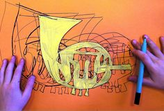 """Lesson plan inspo for futurism Movement in Art & Music - No lesson plan, but could be a great """"one class"""" project to decorate an arts hallway Art Education Lessons, Art Lessons Elementary, High School Art, Middle School Art, 8th Grade Art, Art Curriculum, School Art Projects, High Art, Art Lesson Plans"""