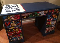 This is a great desk that I painted with Napoleonic Blue Chalk Paint® decorative paint by Annie Sloan. Used my Silhouette to cut the lettering. I cut a poster for the front if the drawers. This is going to a lucky grandson! Decoupage Ideas For Kids, Marvel Bedroom, Blue Chalk Paint, Boys Desk, Superhero Room, Furniture Makeover, Kids Bedroom, Bedroom Ideas, Napoleonic Blue