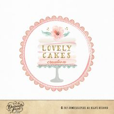 Lovely Premade Logo featuring a watercolor layered cake, with a flower on top and a glamorous gold foil text! Perfect for bakery, wedding photography, baking blogs, food blogs and anything sweet! :) Can be purchased here : https://www.etsy.com/listing/237904594/premade-cake-stand-logo-with-watercolor