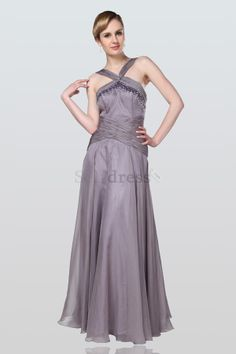 Chiffon Apple Long Elegant & Luxurious Sweep Train Spring A-Line Beading Mother Of The Bride Dress
