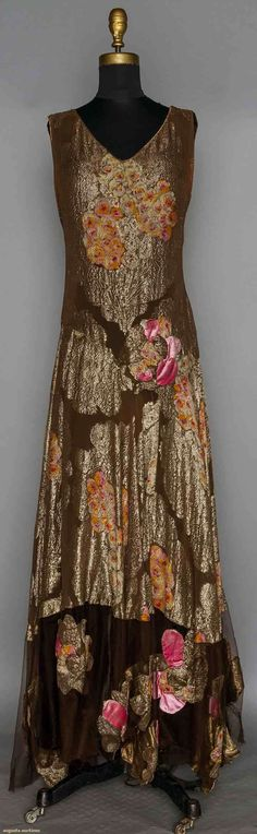 Printed Gold Lame Gown, 1930s, Augusta Auctions - Up for auction November 11, 2015 NYC
