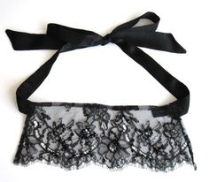 Florence Black silk Lace Eye mask  halloween costume by Lalilouche, $52.00