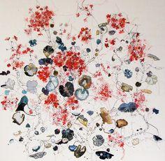 Louise Gardiner - 'Spontaneous Geraniums' Free Machine Embroidery http://www.lougardiner.co.uk/