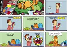 """Food Cravings! Created by Jim Davis, Garfield is about the famous fat cat and his hilarious daily adventures with his """"pal"""" Odie and others."""