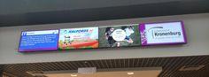 Winkelcentrum Kronenburg » Cast It Interactive Narrowcasting - Videowall, bestaande uit vier grote beeldschermen, met actuele info en de nieuwste aanbiedingen.