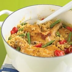 Spicy Coconut Chicken Casserole - Martha Stewart Recipes One Pot Meals One Dish Dinners, One Pot Meals, Chicken Casserole, Casserole Recipes, Rice Casserole, Coconut Chicken, Coconut Milk, Thai Chicken, Coconut Curry