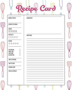 The Best Free Printable Kitchen Planner To Organize Your Year! Make 2019 the yea. The Best Free Printable Kitchen Planner To Organize Your Year! Make 2019 the year that you get your Kitchen in tip top organizational shape! Printable Recipe Cards, Printable Labels, Printable Planner, Planner Stickers, Free Printables, Recipe Printables, Recipe Organization, Planner Organization, Baking Organization