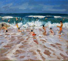 Bathers, oil on canvas, by Andrew Macara RBA NEAC at Thompson's Gallery Landscape Art, Landscape Paintings, Seascape Paintings, Art Paintings, Beach Watercolor, Water Art, Sea Art, Coastal Art, Beach Scenes
