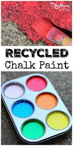Making recycled chalk paint is a great way to recycle old broken and water soaked pieces of sidewalk chalk. The vibrant colors look beautiful painted on sidewalks and driveways. DIY Chalk Paint is the perfect medium for outdoor process art that can easily be washed away. It's also great for homeschool and STEAM activities.