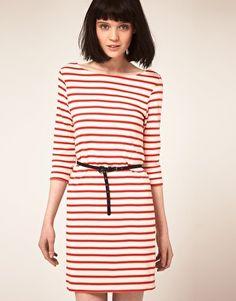 Ganni Stripe Jersey Dress with Suede Belt, £130.00
