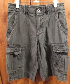 6330778083 American Eagle Size 28 Long Cargo Shorts Army Green Distressed 31.5