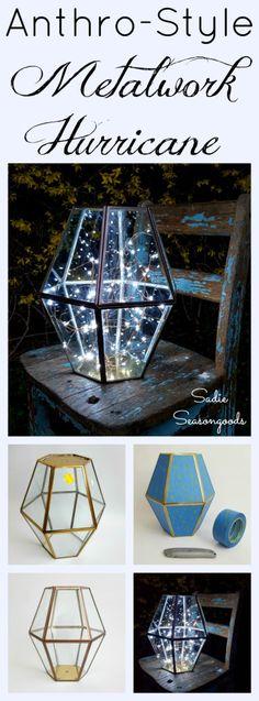DIY Anthropologie metalwork hurricane using a repurposed upcycled vintage brass chandelier or light fixture by Sadie Seasongoods / www.sadieseasongoods.com