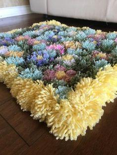Pom Pom rug/flower garden rug/ flower plus pompom Cost Of Carpet, Rugs On Carpet, Pom Pom Rug, Pom Poms, Floral Rug, Yarn Crafts, Colorful Rugs, Pink Flowers, Art Decor