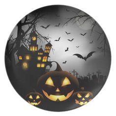 Halloween Plastic Plate-Haunted Pumpkins Plate - Halloween happyhalloween festival party holiday  sc 1 st  Pinterest & Halloween Plastic Plate-Owl Dinner Plate | Plastic plates Owl and ...