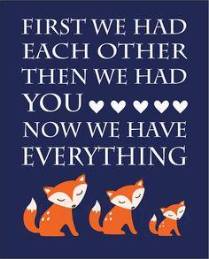 Orange and Navy Blue Fox/Woodland Nursery Quote Print - 8x10 on Etsy, $10.00
