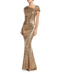 Shine bright in this Off-the-Shoulder Sequined Gown by Badgley Mischka.