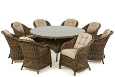 Dorset Rattan Garden Furniture 8 Seater Round Dining Set with Rounded Chairs