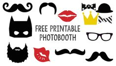 photobooth free printable mustache beard crown lips glasses