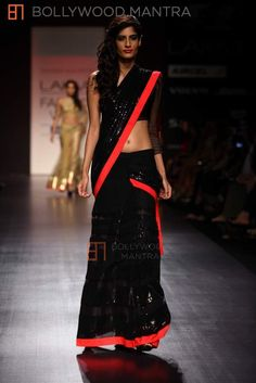 Sexy black with neon red border - Half saree. #saree #fashion #india