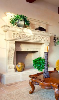 Spanish Mediterranean Family Room With Plaster Fireplace