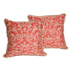 Pair of Vintage Fortuny Fabric Cushions in the Corone Pattern | From a unique collection of antique and modern pillows and throws at https://www.1stdibs.com/furniture/more-furniture-collectibles/pillows-throws/