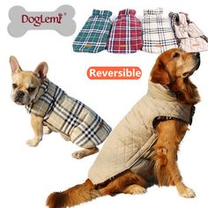 2015 Waterproof Reversible Dog Jacket Designer Warm Plaid Winter Dog Coats Pet Clothes Elastic Small to Large Dog Clothes Winter-in Dog Coats & Jackets from Home & Garden on Aliexpress.com | Alibaba Group