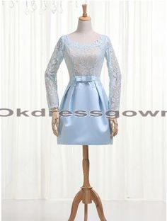 Lace Affordable Blue prom dresses with Long Sleeves
