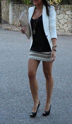 White Blazer, Pendant Necklace, Embellished Skirt.