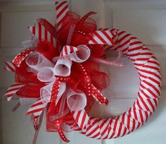 Candy Cane..Spiral..Deco Mesh Wreath. by ADoorableCreations05, $35.00