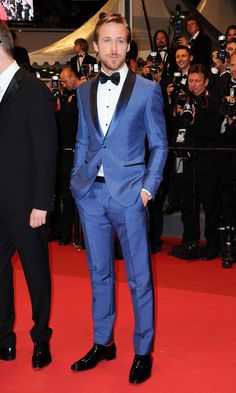Ryan Gosling  Premiere at 64th Cannes Film Festival 2011  BLUE SUIT, RED SOCKS? AWESOME! #MensFashion