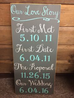 Our Love Story Wedding Date Pine Wood Sign by MaineWorksOfHeart