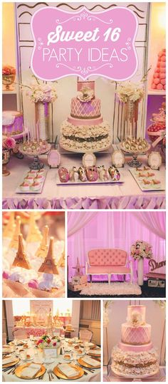 What an amazing Parisian sweet sixteen party! There's a stunning dessert table and a French boutique! See more party planning ideas at CatchMyParty.com! Birthday gifts #birthdaygifts