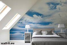 Fototapety do sypialni. Błękitne niebo i chmury, idealna za zagłówek lub na sufit. Wzór nr NB17 ©   #fototapety #fototapeta #wallit #swidnica #drukarnia #copyright #niebo #chmury #fotowallpaper