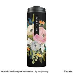 BRIDAL SHOWER Custom Personalized Bridesmaids Painted Floral Bouquet Personalized Name Cup Coffee Tea Thermos  #bridalshower #bridesmaids