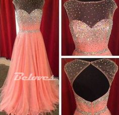 Pearl Pink Chiffon illusion Neckline Prom Dress With Keyhole Back